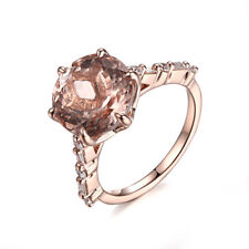 Flawless Ring 3.5CT Morganite Round 10mm Natural Diamonds 18K Rose Gold Jewelry