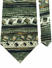 "Bergere Men's 100% Silk Abstract Neck Tie Green Multi Wide 4"" x 58"""