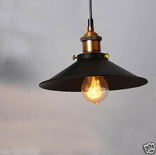 Vintage Black Metal Loft Cafe Ceiling Lamp Pendant Light Chandeliers Fitting LED Type C 60w Filament Bulb
