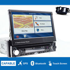 """1 Din In Dash Car Stereo DVD Player 7"""" Touch Screen GPS Bluetooth+Backup Camera"""