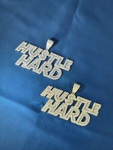 925 Sterling Silver HUSTLE HARD Design Pendant CZ Stones