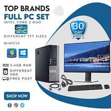 Full PC SET C2D,3-4GB RAM, Different HDD & TFTs Sizes WIN7/10,WiFi, Free post