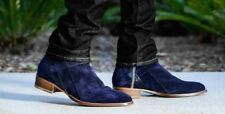 Handmade Men navy blue Jodhpurs boot, Men side zipper ankle boot, Mens boot