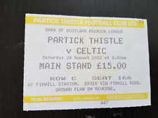 Sammler Used Ticket / Entrada Partick Thistle v Celtic Glasgow FC 24-08-2002