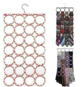 Scarf Hanger Organiser Wardrobe Holder Storage 28 Hole Tie Circle Hook Closet