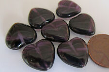 26 Czech Glass Huge 15mm Deep Purple Swirl Heart Beads -- Hold Up to the Light!