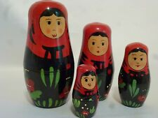 Nesting Doll Woman in Red & Black Set of Four