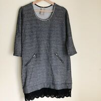 Dolan Women's Batwing Gray 3/4 Sleeve Lace Hem Sweatshirt Shift Dress Size Small
