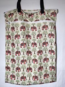 Elephants! Reusable Cloth Diapers Wet Dry Bag, Tote, Two Zip Pockets, Waterproof
