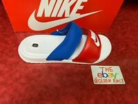 Nike Womens Benassi Duo Ultra Leather Slides Sandals 819717-110 Red/Blue/White