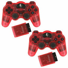 ZedLabz Wireless RF Double Shock Vibration Controller for Ps2 & Ps1 Red - Refurb