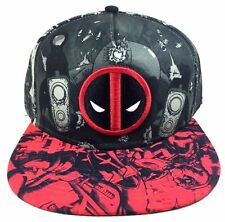 MARVEL COMICS DEADPOOL LOGO SUBLIMATED ALL OVER PRINT SNAPBACK HAT CAP BLACK RED