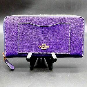 Coach F54007 Accordion Crossgrain Leather Zip Around Wallet Violet Purple