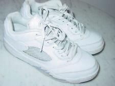 2015 Nike Air Jordan Retro 5 White/Wolf Grey/Black Youth Low Shoes Size 2Y