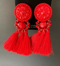 Statement Red Gold Beaded Dangle Red Tassel Fringe Fashion Costume Earrings