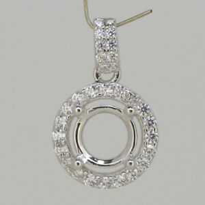 Sterling Silver Semi Mount Pendant Setting Round RD 6x6mm Halo with CZ