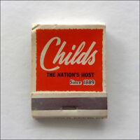 Childs Restaurants The Nation's Host Since 1889 Matchbook (MK52)