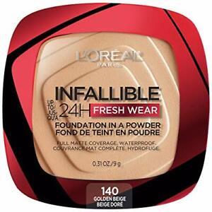 L'Oreal Paris Infallible Fresh Wear Foundation in a Powder 140 Golden Beige 0...