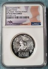 2021 Australia 1oz Silver WINGED VICTORY High Relief PF70 FDOI Mercanti IN HAND