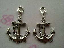 2 X Tibetan Silver Plated Anchor Clip On Charms