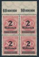D.Reich Nr. 309 P Y OR postfrisch/**, Oberrandviererblock geprüft Infla (51323)