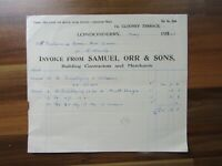 Antique Irish document paperwork - Samuel Orr & sons - Londonderry 1940