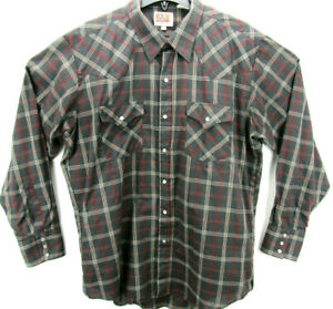 Ely Cattleman Men's Size 17/35 Long Sleeve Pearl Snap Western Shirt Plaid