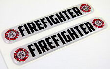 "Firefighter Domed Decal Emblem Resin car bike biker stickers 5""x 0.82"" 2pc."