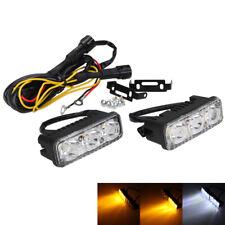 2x 6 LED Car Turn Signal Daytime Running Light White DRL & Amber 12V Universal