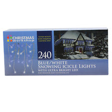 240 NEVICANDO Icicle BLU & BIANCO ULTRA LUMINOSA A LED Indoor Outdoor Luci di Natale