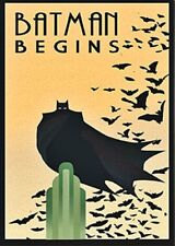 Batman Begins Movie Vintage Art Deco Poster- formato A2 (420 x 594 mm)