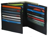 Mens European Cowhide Leather Trifold Mens Wallet 2 ID-20 Card Slots Black
