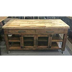 New Paso Timber Butchers Block Mobile Kitchen Chopping Board Work Bench 1800mm