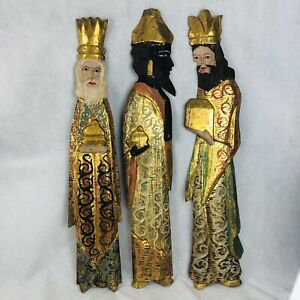 Vintage Three Kings Wood Carving Wall Art Large Hand Painted 3 Wooden Carved