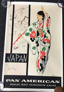 JAPAN-PAN AMERICAN- Aaron Amspoker-TRAVEL VINTAGE POSTER ORIGINAL 1960'S