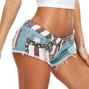 SEXY Women Low Waist American US Flag Mini Shorts Pants Denim Trousers US SELLER