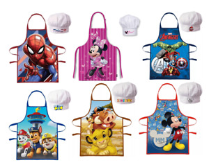 Kids Apron Chef Hat Set Childrens Cooking Baking Aprons For Boys Girls Character