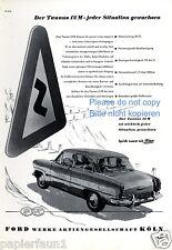 Ford Taunus 12 M Reklame von 1954 Kurve Kurvenverhalten Strassenschild ad    ßß