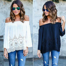 Women Off the Shoulder Tops Boho Casual Shirts Blouse Beach Summer Loose T-Shirt