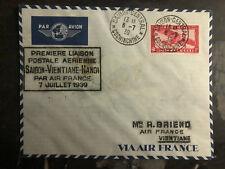 1939 Saigon Laos Hanoi Vietnam First Flight Cover 200 Flown FFC via Air France