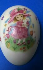 Vntage Geo Z Lefton Co. egg trinket box 6215 Girl in pink dress w/bunny Easter