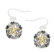 Antique Sand Dollar Fashionable Earrings - Fish Hook - Silver & Gold Plated