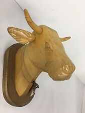 Wood Hand Carved Cow Figurine Wall Plaque Sterling Bell
