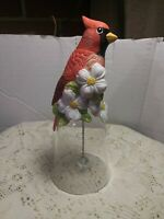 Red Cardinal Bird Bell With Flowers Clear Glass Bottom W/H Clear Ball. Beautiful