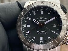 Glycine 42mm Swiss Made Airman Dark Grey Dial Automatic Stainless Bracelet Watch