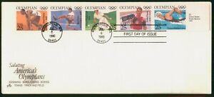 MayfairStamps US FDC Unsealed 1990 Strip of 5 Summer Olympics Art Craft First Da