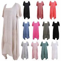 Women Italian Balloon Boho Tulip Hem Linen Plain Square Neck Short Sleeve Dress