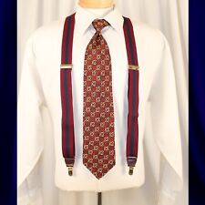 UNBRANDED  Burgundy (NOT RED) with Navy Blue Stripes Man Suspenders