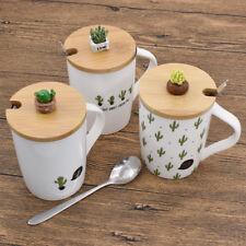 Love Cactus Mugs Ceramic Coffee Cups With Lid Spoon Home Morning Mugs Random