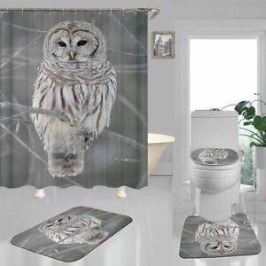 Owl Shower Curtain Bath Mat Toilet Cover Rug Bathroom Decor